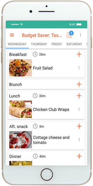 Mobile meal planning app - meal plan