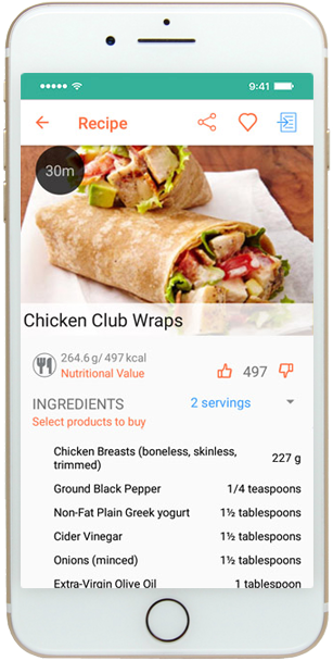 Mobile meal planning app - recipe